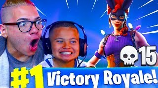 *NEW* SKIN IS OVERPOWERED!! MY LITTLE BROTHER TURNED GOATED! FORTNITE BATTLE ROYALE HIGH KILLS!