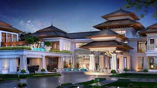 Проект дома в стиле Ар-деко. Дом с гаражом, террасой, балконом и фонтаном. Ремстройсервис V-1350