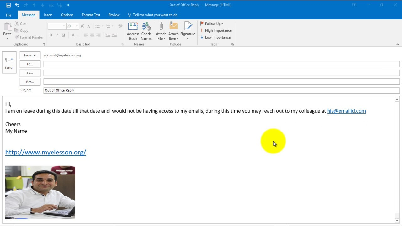 Create Out of Office Reply in Outlook 2016
