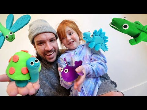 ANiMAL ZOO Transfer!!  Adley & Dad build a play doh pet neighborhood and pretend vet doctor check up