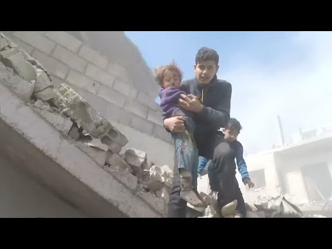 Bodycam footage shows children being rescued from rubble in eastern Ghouta, Syria