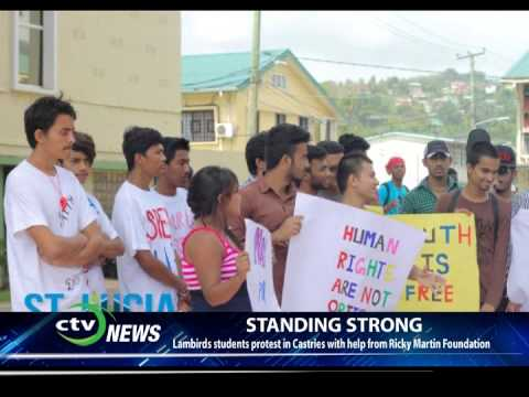 CTV NEWS - Lambirds students protest in Castries with help from Ricky Martin Foundation