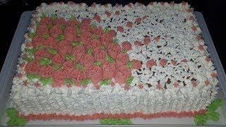 Ukrašavanje torte šlagom   Whipped cream cake decorating