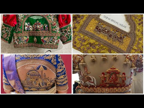 wedding-theme-maggam-embroidery-blouse-design-for-silk-sarees-  -doli-embroidery-work