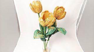Золотые тюльпаны из бисера Моя новая работа. Бисероплетение Golden tulips