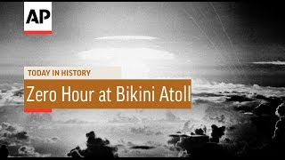On may 21, 1956, the u.s. detonated first airborne hydrogen bomb over bikini atoll in marshall islands.zero hour approaches at pa...