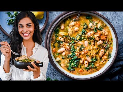Creamy white bean & kale soup | cozy one-pot vegan dinner