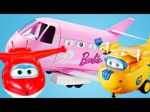 Super Wings toys and Barbie's plane.