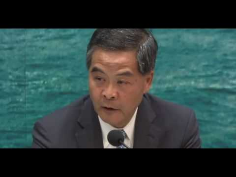 Chief Executive Leung Chun-ying says gov't is trying to ease housing shortage