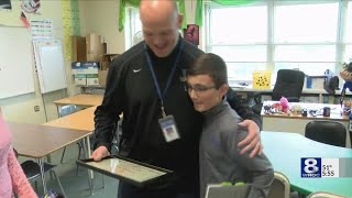 Spry Middle School's Kevin Keiser recognized with Golden Apple Award