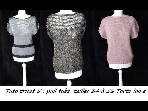 Tuto tricot 5   un pull manches courtes, taille 34 à 52, débutant ... 6ccbc835a127