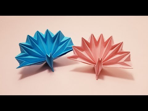 Okay! ll Origami Paper 3D Peacock tutorial (3D Peacock feather)
