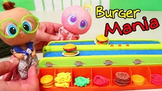 Babies Play Burger Mania Board Game ! Toys and Dolls Fun for Kids Playing with Nerlies | SWTAD