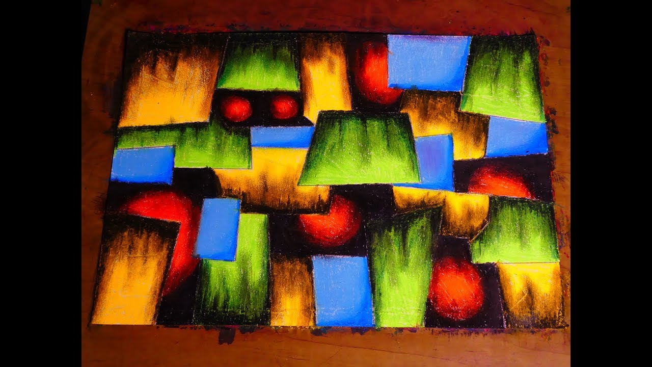 Easy Squares Abstract Painting In Wax Oil Pastel Contemporary Art Tutorial