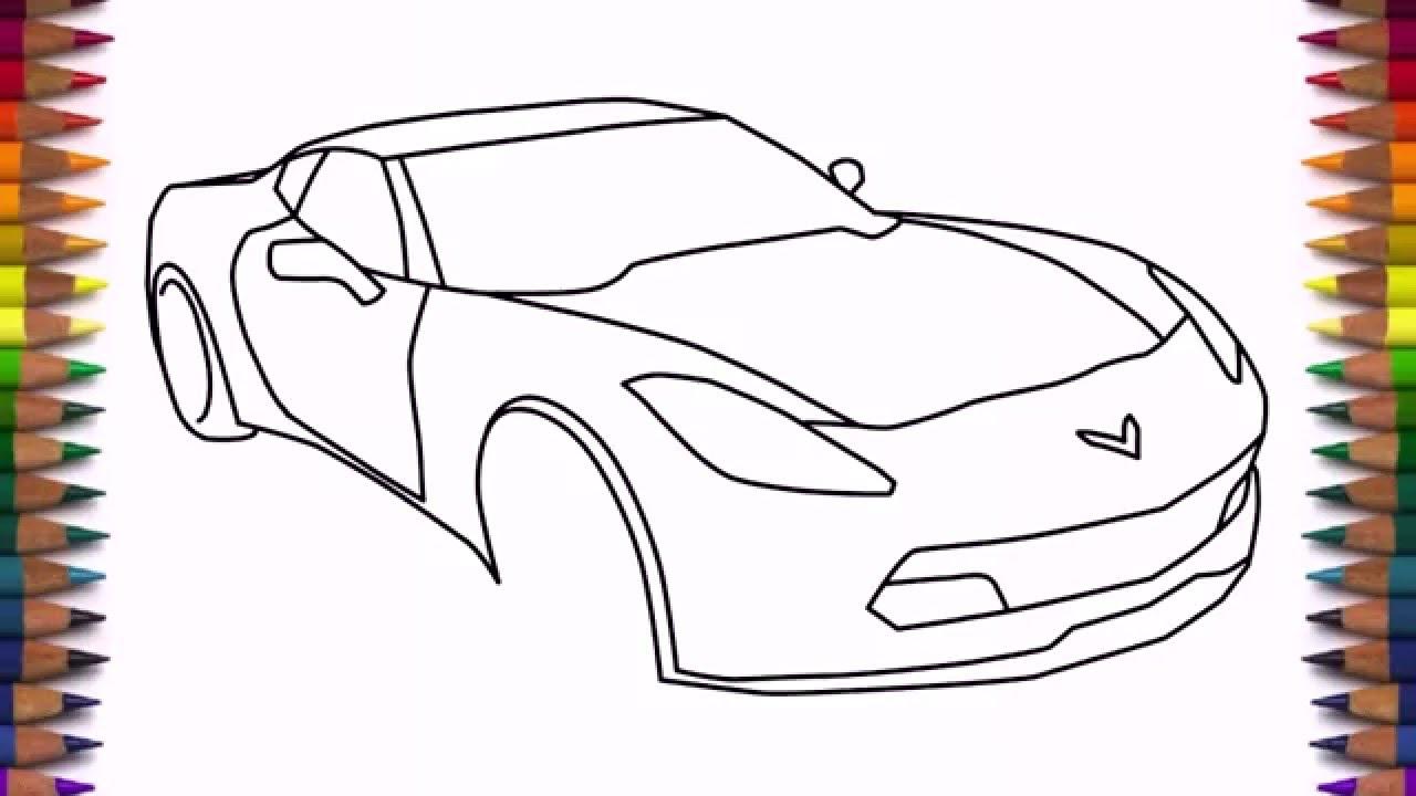 How To Draw A Car Chevrolet Corvette Z06 2016 Step By