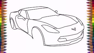 How to draw a car Chevrolet Corvette Z06 2016 step by step easy drawing for beginners