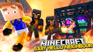 Minecraft BABY HELLO NEIGHBOUR - THE NEIGHBOUR HAS KIDNAPPED POPPY & BRANCH - Donut the Dog