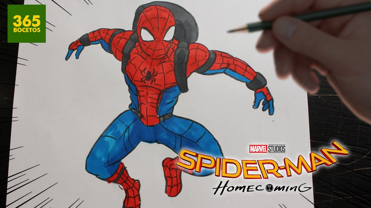 Como dibujar spiderman homecoming how to draw spider man homecoming