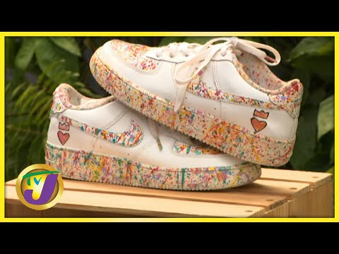 Custom Sneakers Art - Fabian Brown   TVJ Smile Jamaica