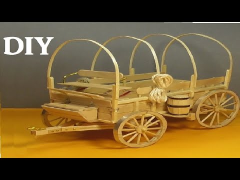 AMAZING OLD WEST WAGON by POPSICLE STICKS- DIY CRAFT