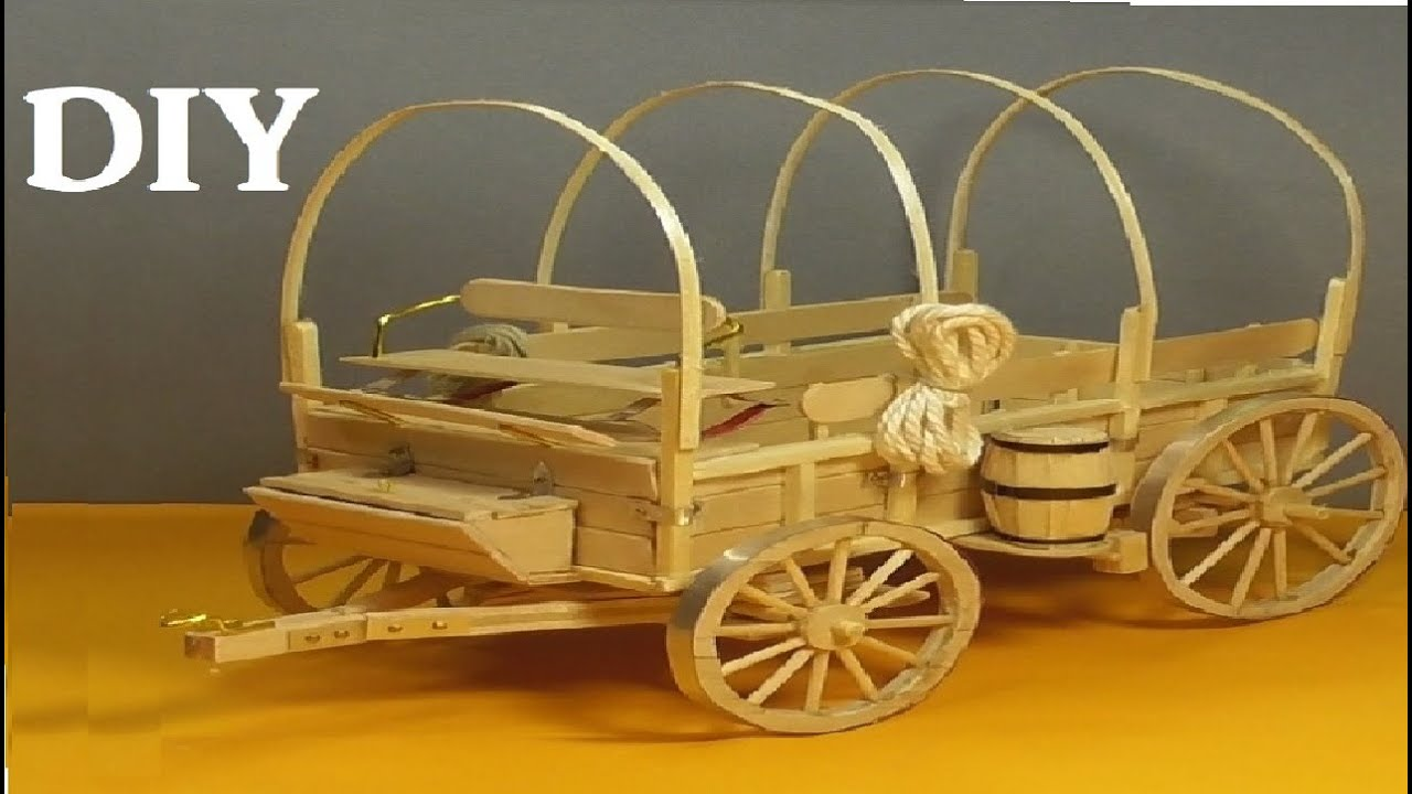 Amazing Old West Wagon By Popsicle Sticks Diy Craft Youtube