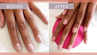 DIP POWDER WITH GEL POLISH ON NATURAL NAIL
