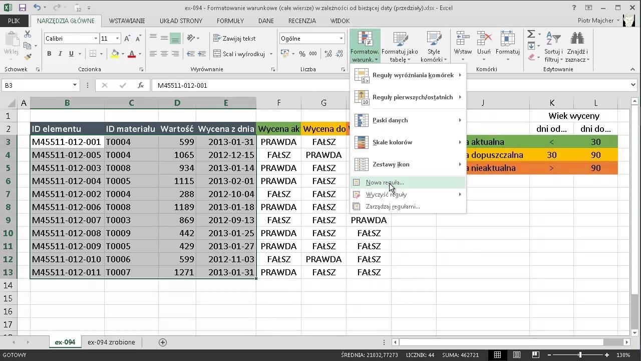 Excel 094 Formatowanie Warunkowe Całe Wiersze W Zależności Od Bieżącej Daty Przedziały