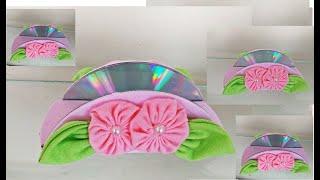 Porta Guardanapos Feito com CD'S e Fuxico – Usando Materiais Reciclados