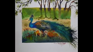 How to Paint Peacock in Watercolor? Painting done by Avinash Pise #Peacock#PeacockPainting#paint