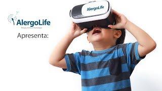 Aplicação de vacinas para alergia com óculos de realidade virtual