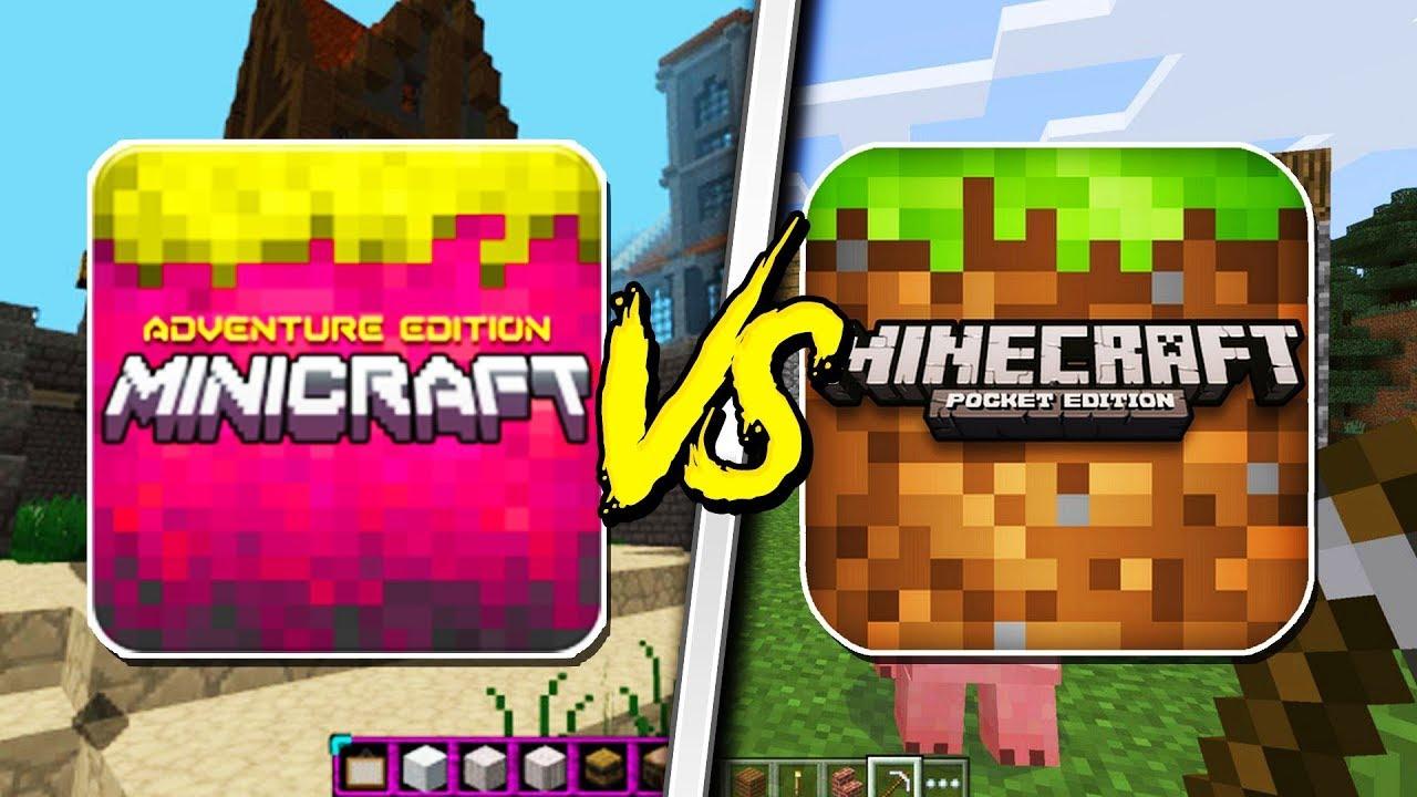 MINECRAFT POCKET EDITION VS MINI CRAFT! - (Pocket Edition, Mini Minecraft) #1