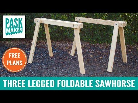 Three Legged Foldable Sawhorse - Built with Basic Tools