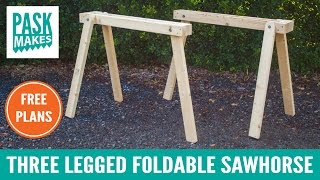 Three Legged Foldable Sawhorse - Built with Basic Tools