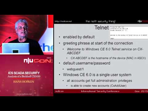 nullcon Goa 2015: ICS SCADA Security Analysis of a Beckhoff CX5020 PLC by Hans Hoefken