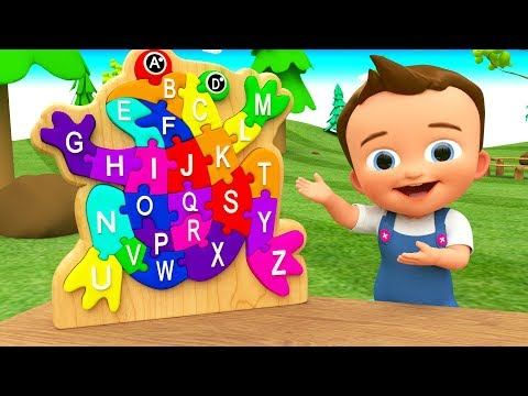 Little Baby Fun Learning Alphabets ABC A-Z with Wooden Frog Colors Puzzle ToySet 3D Kids Educational