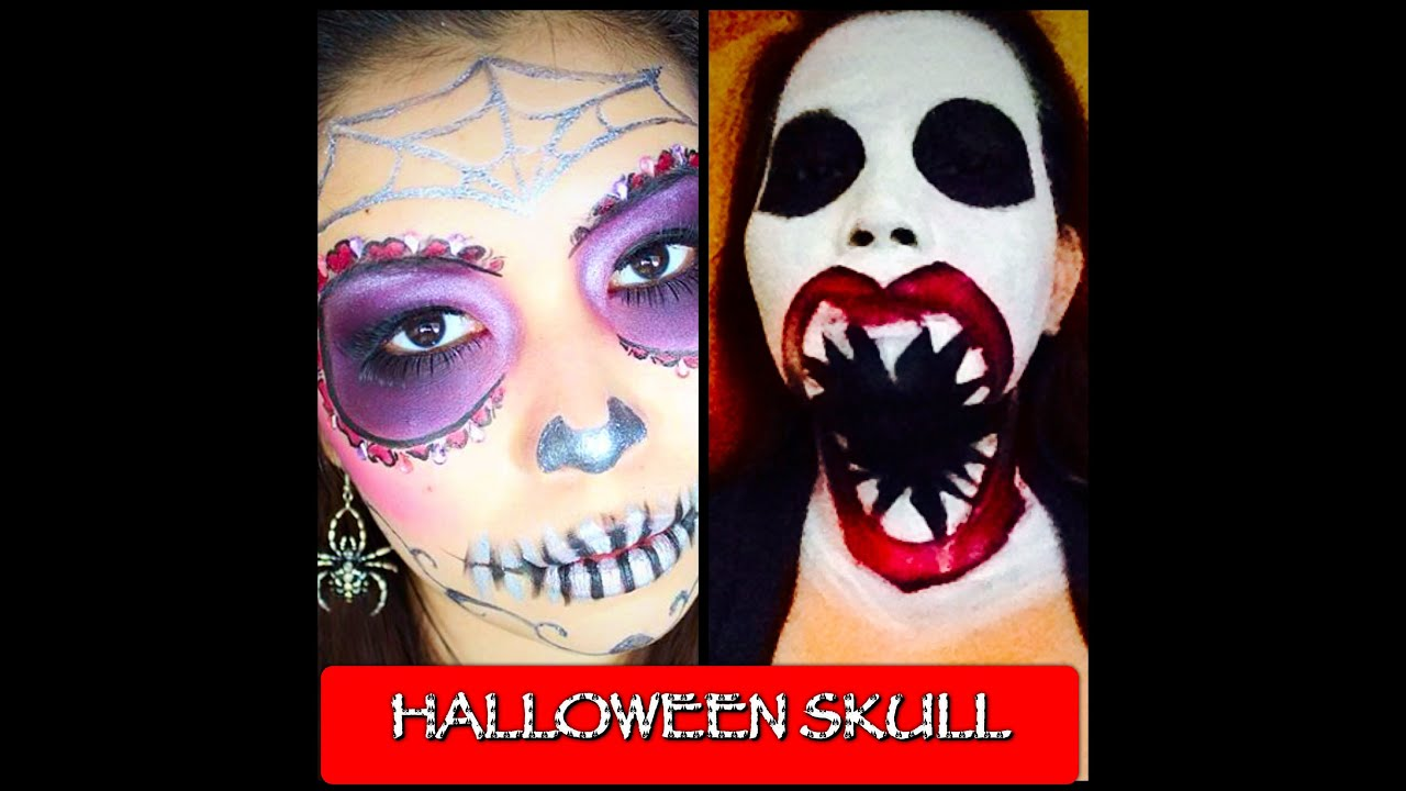 Halloween Make-up tutorial ( Big mouth skull ) Collab - YouTube