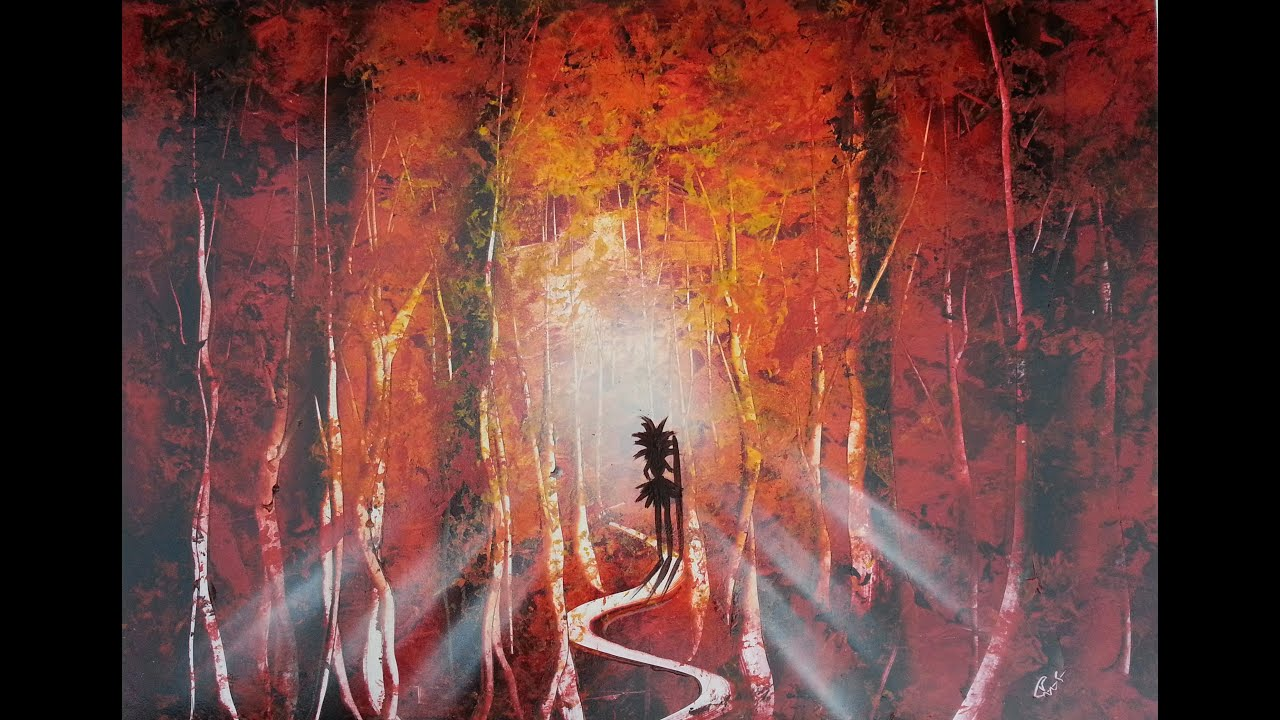 Amazing spray paint art - Red forest - made by street ...