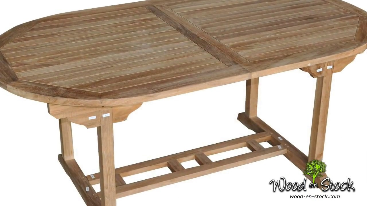 table de jardin en teck brut Java 180 240 cm - YouTube
