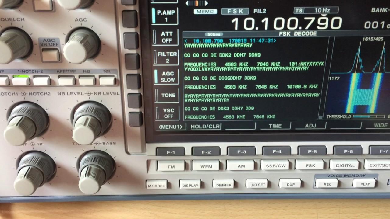 My Icom IC-R9500 - Internal RTTY Decoder 50/425 DWD German Weather