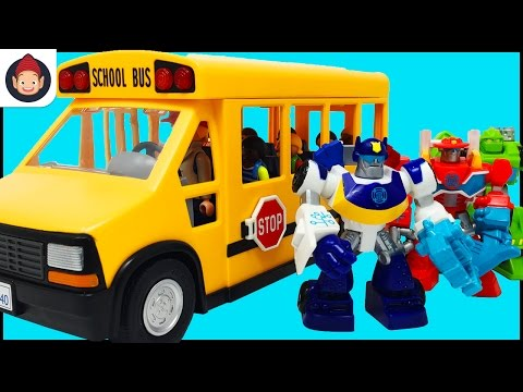 School Bus Playmobile Kids Go On Fieldtrip To Transformers Rescue Bots Command Center With Bus Song