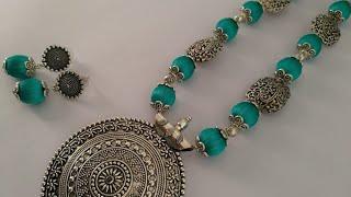 DIY/oxidised necklace and earring set making tutorial/German silver jewellery /Silkthread jewellery