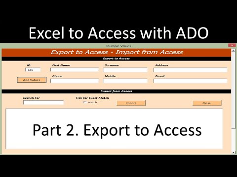 Excel To Access Database With ADO - Export