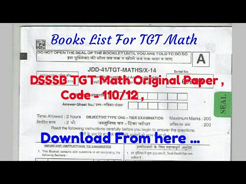 dsssb tgt math paper and books list for your preparation youtube