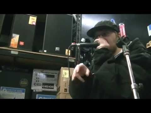 Mc Rx Testing a Mic at Steves Music Store in Toronto