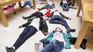 Action d'ATTAC dans un Apple Store contre l'évasion fiscale (7 avril 2018, Paris)