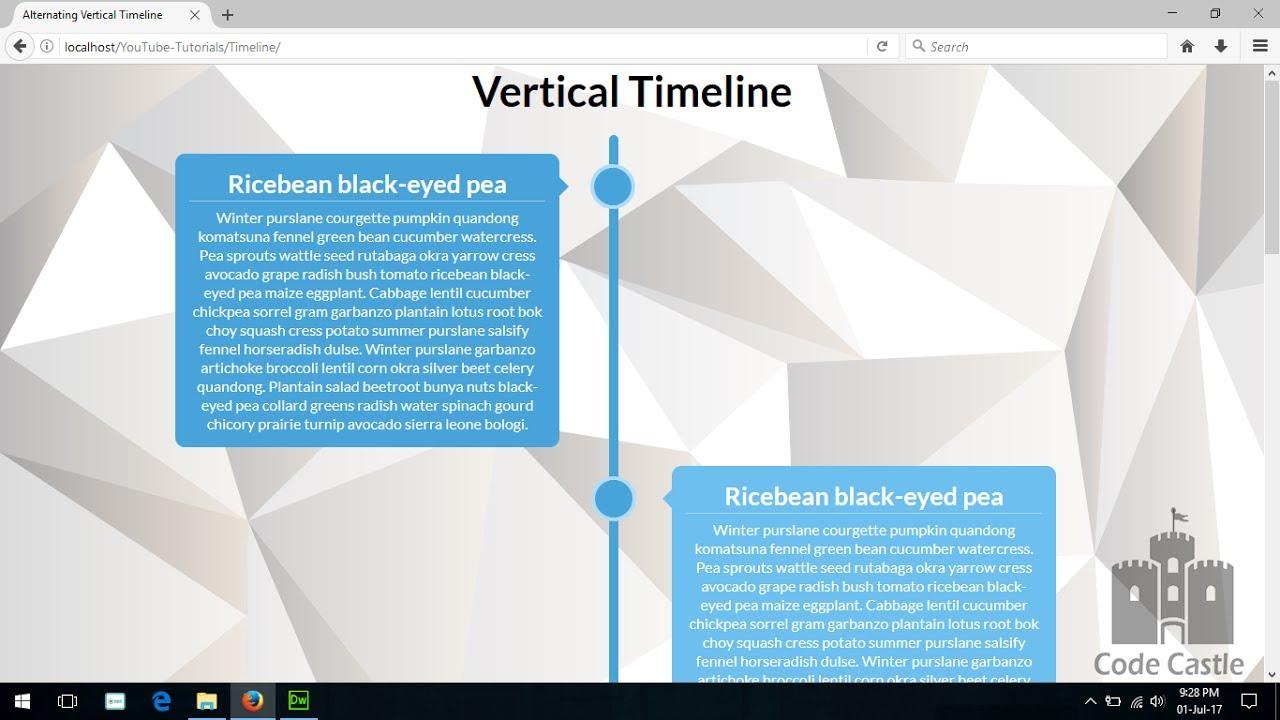 Alternating Vertical Timeline Using Css Web Design Timeline - Timeline website template