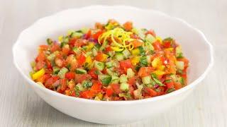 Израильский салат из свежих овощей. Рецепт от Всегда Вкусно!