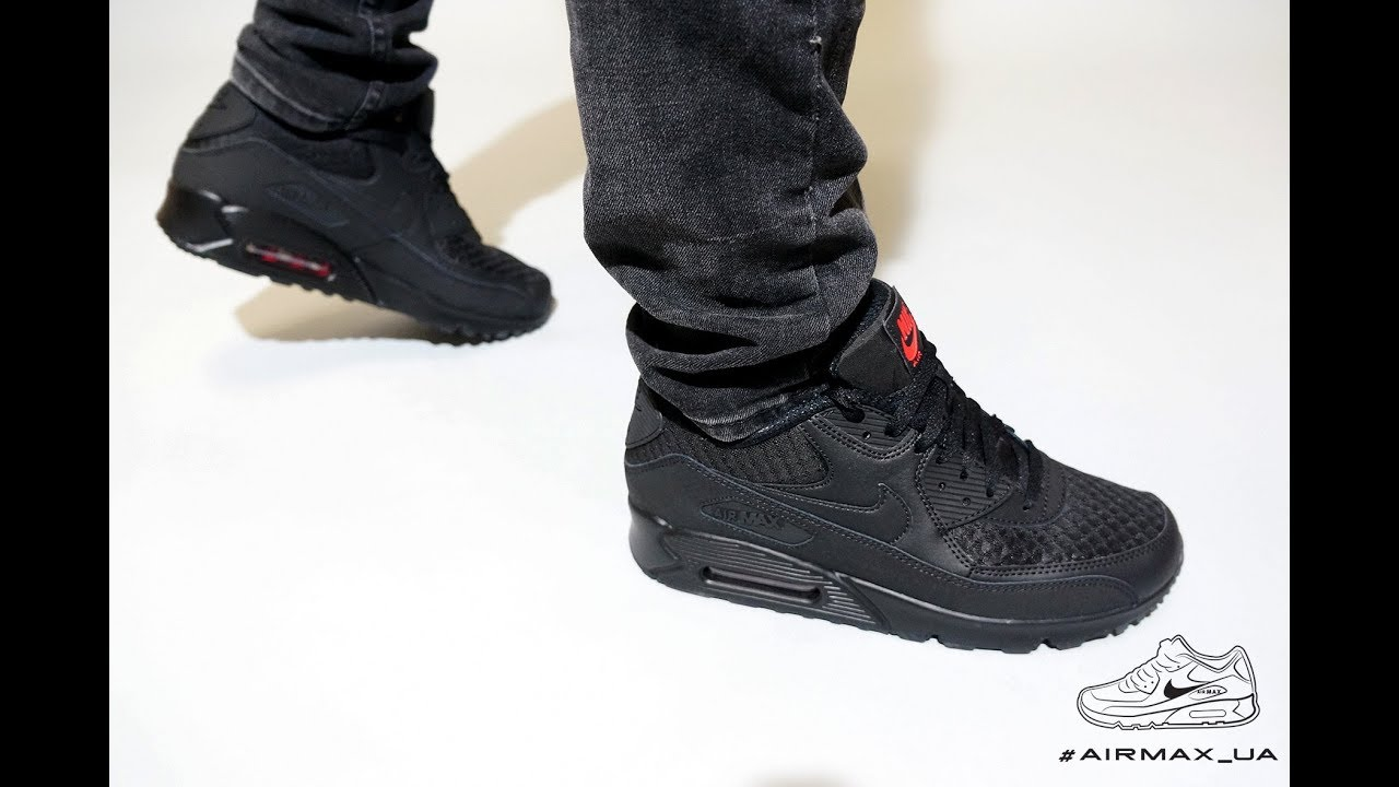 new product d8acf c9c27 Nike Air Max 90 Essential Black Silver Red on feet