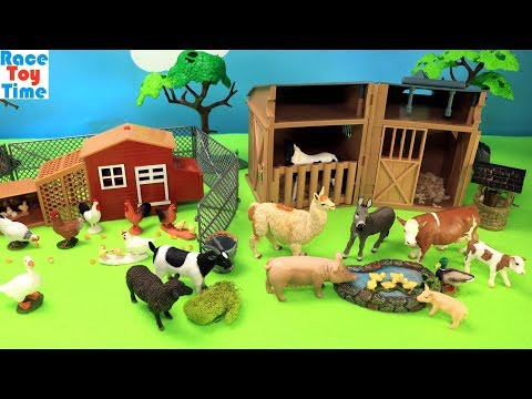 Farm Animals and Chicken Coop Playset - Animal Toys Video For Kids