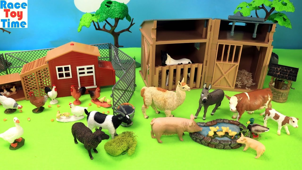 Farm Animals And Chicken Coop Playset Animal Toys Video